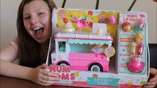 num noms series 2 deluxe pack mystery surprise blind packs and lip gloss truck playset unboxing