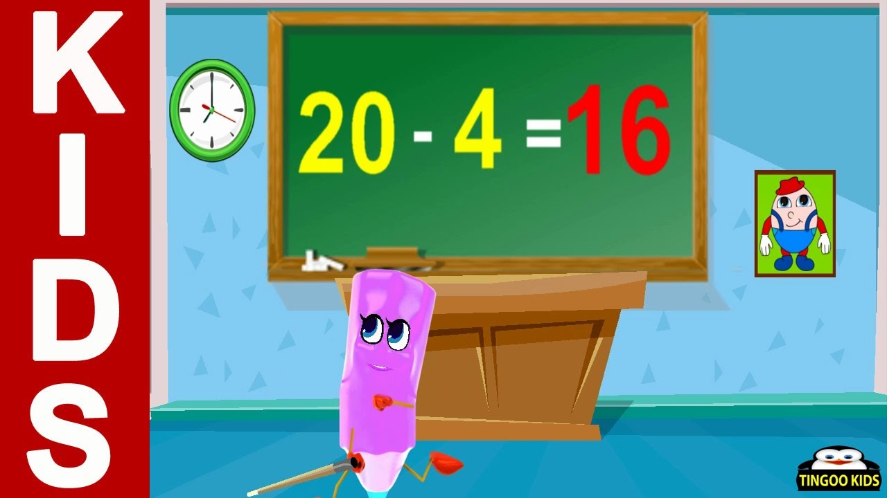 HomeSchool Tutorial | Subtract 20 Table Song | Kids Math Education ...