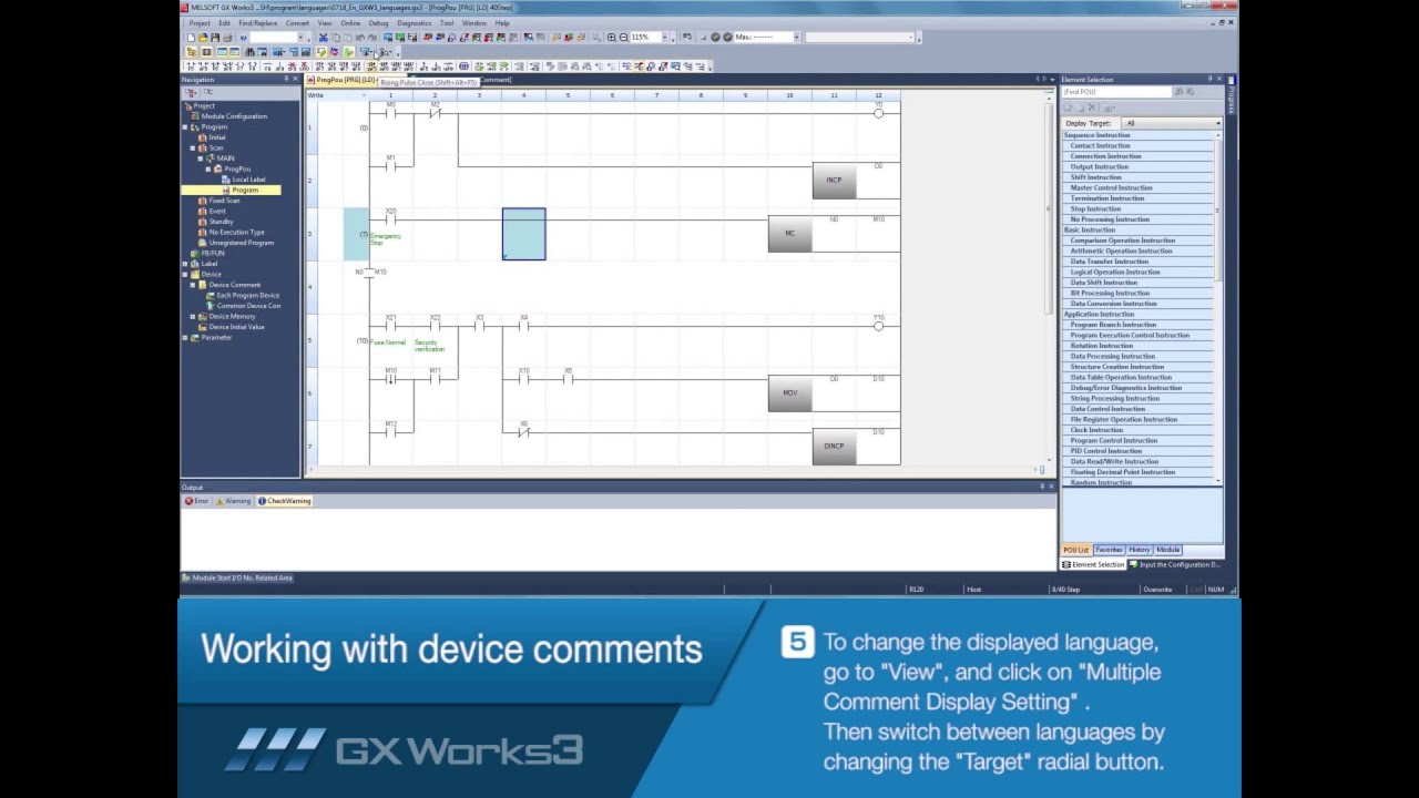 Mitsubishi Electric Quick Tips: Language Switching in GX Works3