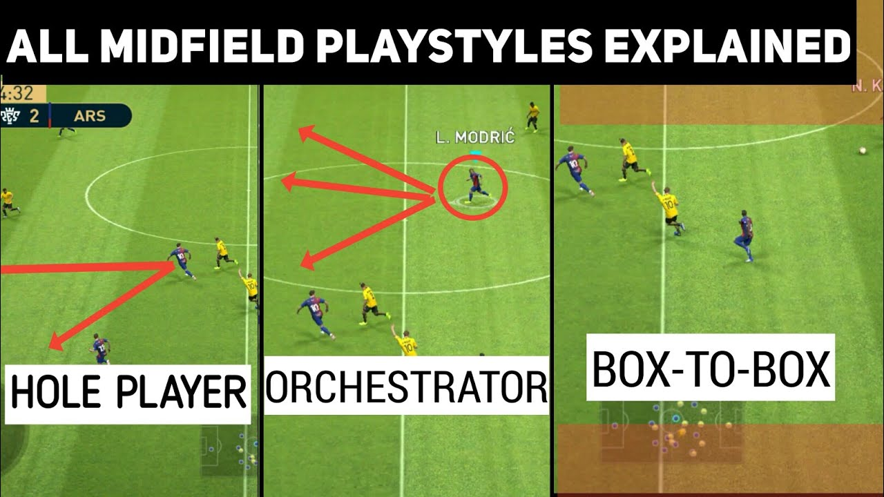 All Midfield Playstyles Explained with Gameplay | PES 2019 Mobile