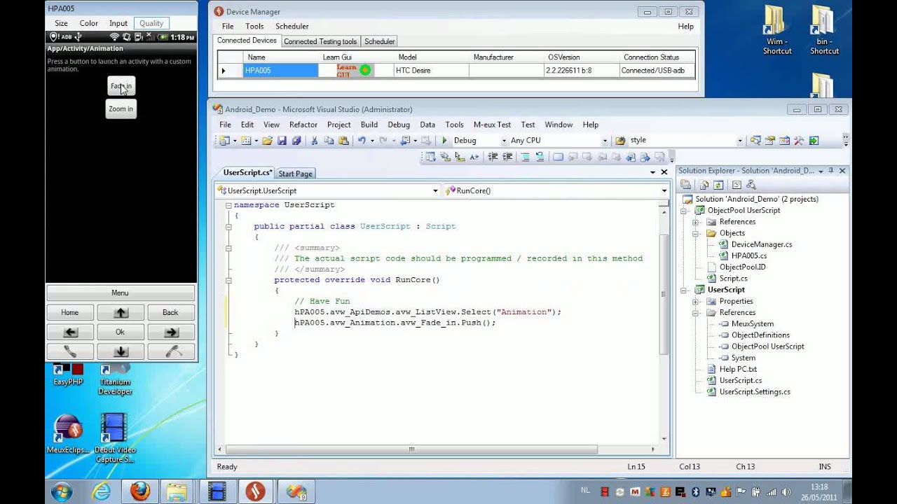 Test Android apps using M-eux Test and Visual Studio