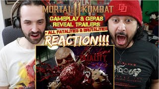 MORTAL KOMBAT 11 Gameplay & Geras Reveal Trailers + All Fatalities - REACTION!!!