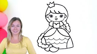 How to Color the Little Princess with Long Hair