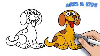çizim, boyama karikatür köpek