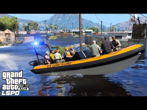GTA 5 Coastal Callouts | Coast Guard Rescues Stranded Hurricane Survivors | Sandy Shores Flood