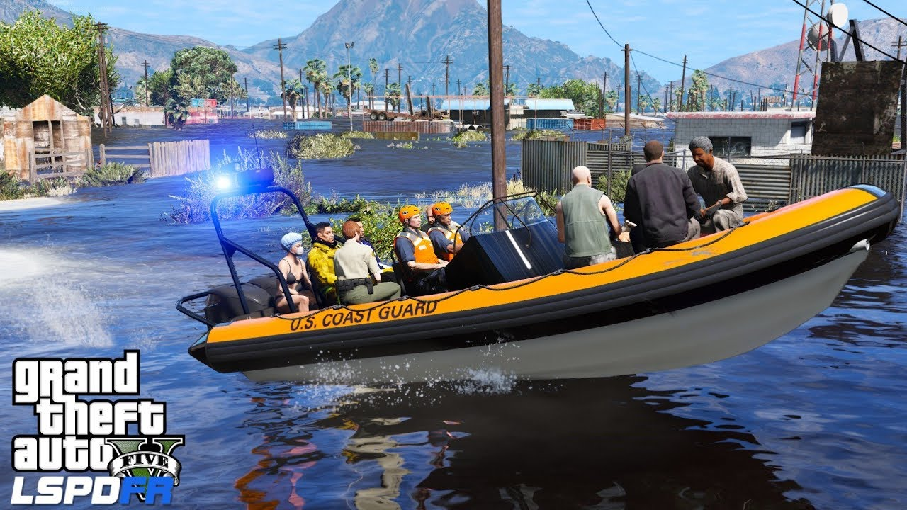 GTA 5 Coastal Callouts   Coast Guard Rescues Stranded Hurricane Survivors    Sandy Shores Flood