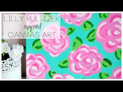 DIY Lilly Pulitzer Inspired Canvas Art   YouTube
