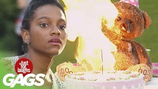 Evil Teddy Ruins Birthday Party! - Just For Laughs Gags