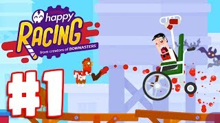 HAPPY WHEEL & BOWMASTERS IN 1 GAME?!   Happy Racing Gameplay Part 1   Easy City 1-8