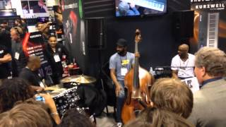Stacey Lamont Sydnor Drum Solo with Myron McKinley Trio at NAMM (w/Ian Martin on bass)