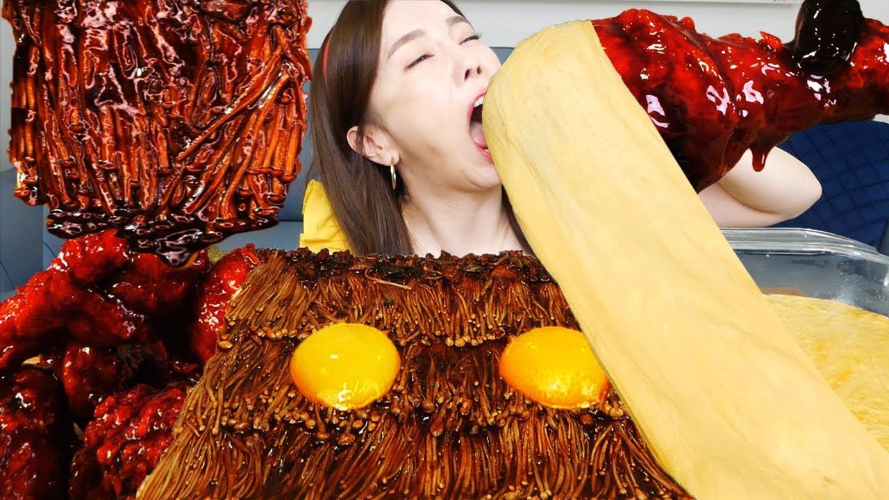 [Mukbang ASMR] 핵맵 불닭 치킨 🔥 치즈 퐁듀 & 짜장 팽이버섯 Spicy Buldak Chicken Cheese Fondue Enokimushrooms Ssoyoung