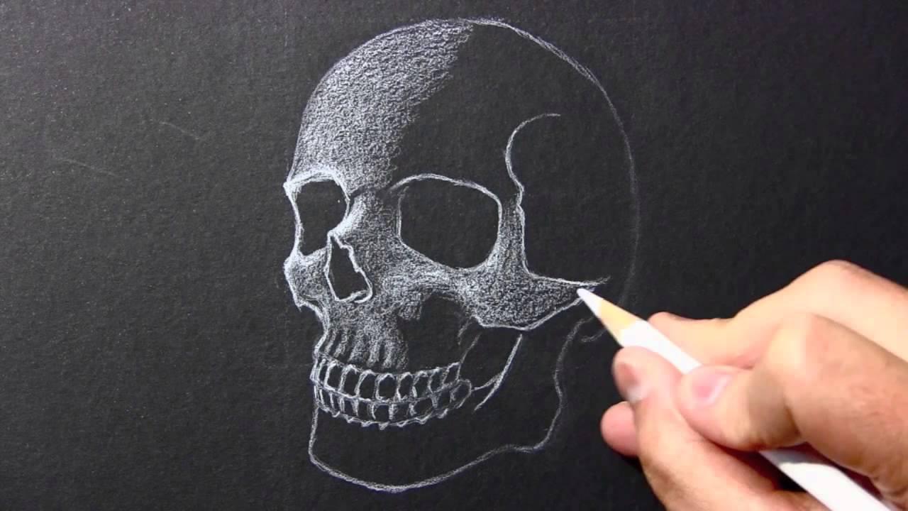 Drawing time lapse skull white pencil black paper