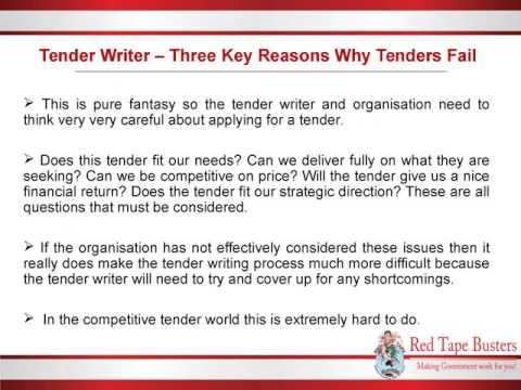 Tender Writer – Three Key Reasons Why Tenders Fail