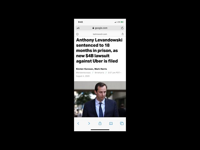 Anthony Levandowski sentenced to 18 months in prison, as new $4B lawsuit against Uber is filed
