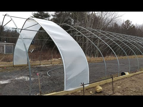 Big Aquaponic Greenhouse - Part 6 - PLASTIC COVERING