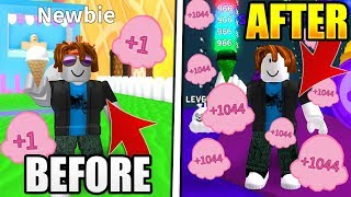 NOOB UNLOCKED ALL OP SCOOPS EN 15 MINUTES EN ICE CREAM SIMULATOR! Roblox