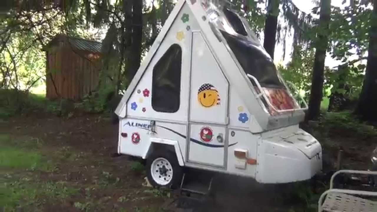 Aliner Alite Folding Pull Behind Motorcycle Camper - YouTube