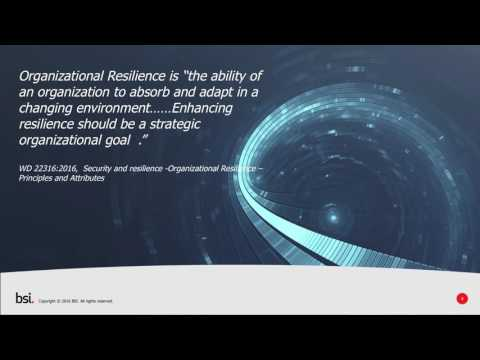 Business Continuity and other tools for Organizational Resilience webinar 13-10-2016