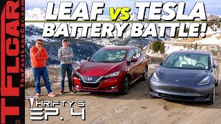 We Drive a Tesla Model 3 vs Nissan Leaf Up a MOUNTAIN to See Which is More Efficient! Thrifty 3 Ep.4