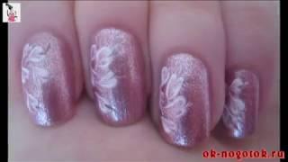Видеоурок №11. Рисунок на ногтях иголкой «Нежность»(Эти нежные рисунки выполняются при помощи иголки и лаков 2-х цветов -- проще не бывает. Такой дизайн на ногтя..., 2013-06-24T07:00:38.000Z)