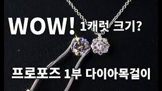 가성비1캐럿 크기 1부 다이아몬드 목걸이프로포즈나 선물…