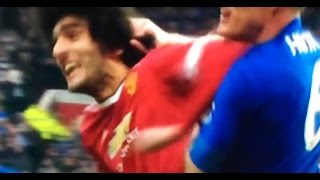 Huth with the hair pull, Fellaini with the elbow and face hit  01.05.2016
