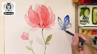 Transparent Flower & Butterfly / Watercolor painting technique