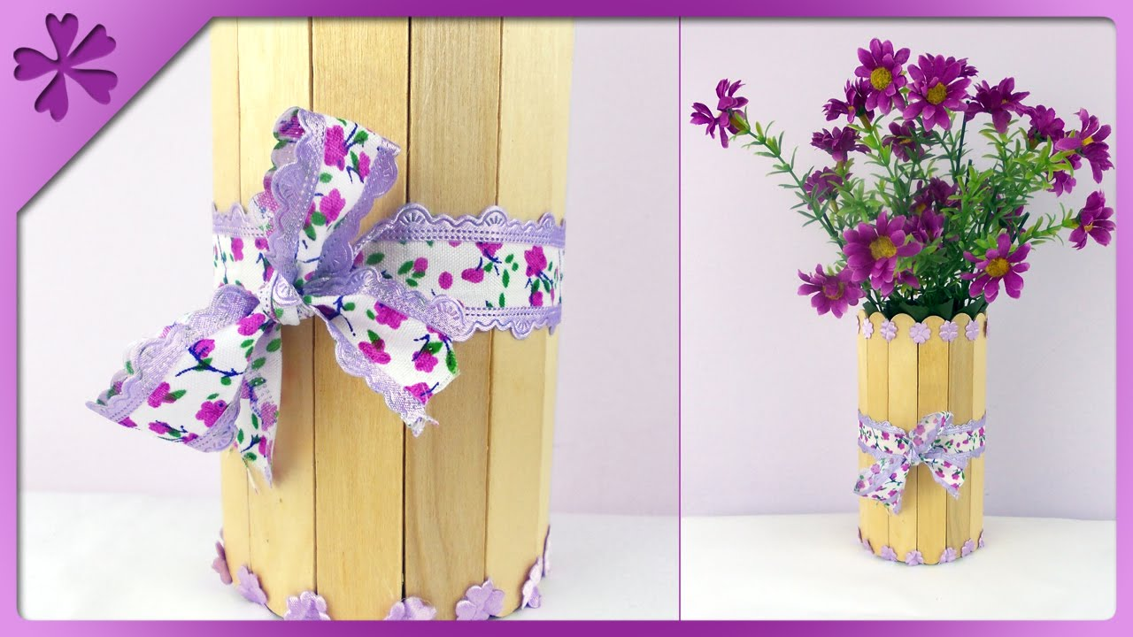 DIY Ice Cream Stick Flower Vase ENG Subtitles