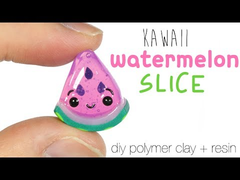 How to DIY Kawaii Watermelon Slice Polymer Clay/Resin Tutorial