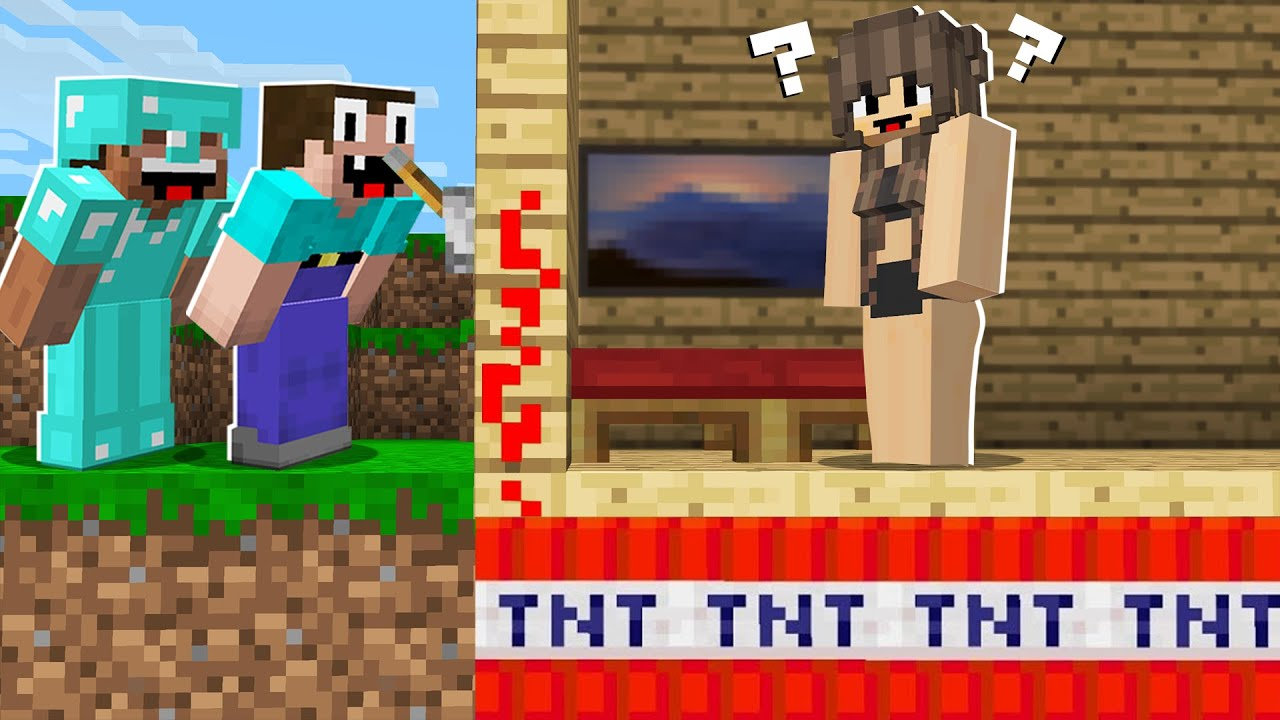 How to TROLLING a GIRL in MINECRAFT? TNT TRAP in Minecraft Noob vs Pro
