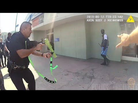 LAPD Officers Use Bean Bag Rounds To Arrest Suspect Armed With Metal Stick