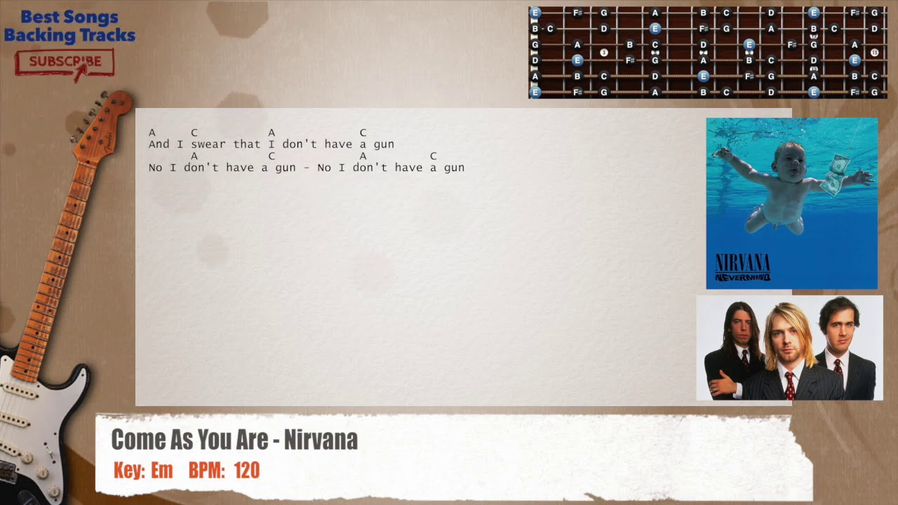 Come as you are nirvana guitar backing track with chords and come as you are nirvana guitar backing track with chords and lyrics hexwebz Images