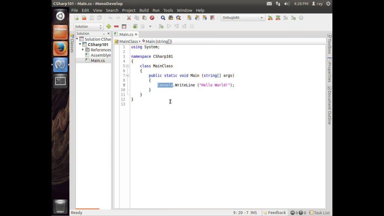 C Sharp on Ubuntu MonoDevelop Video 1