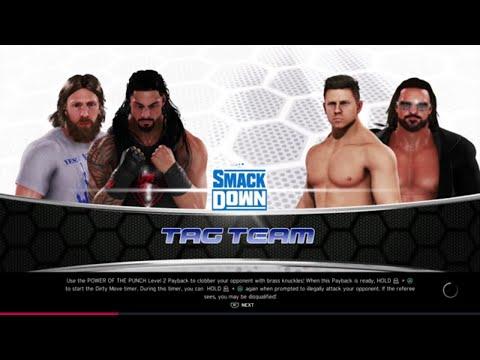 WWE 2K20 Roman Reigns,Daniel Bryan VS The Miz,John Morrison Elimination Tag Match