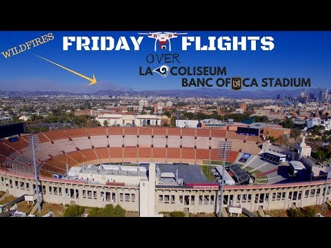 Drone flying around LA Rams Coliseum and Banc of CA Stadium