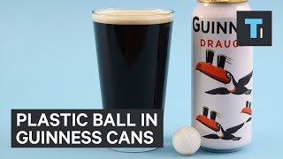 Plastic ball in Guinness cans