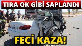 Lüks Otomobil Tıra Ok Gibi Saplandı! 2 Ölü, 2 Yaralı