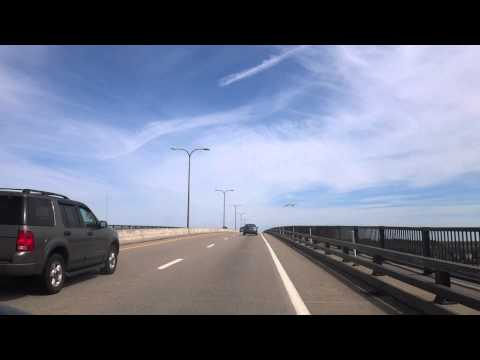 Driving over the Jamestown Verrazzano Bridge to Newport, RI