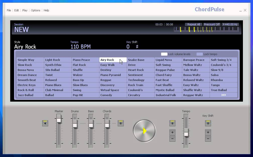 Create midi backing tracks or loops with ChordPulse music software