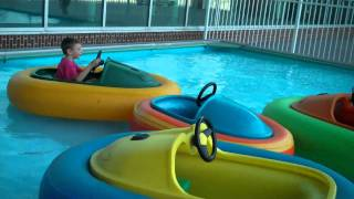 Kids in bumper boats at Air and Space Center in Virginia