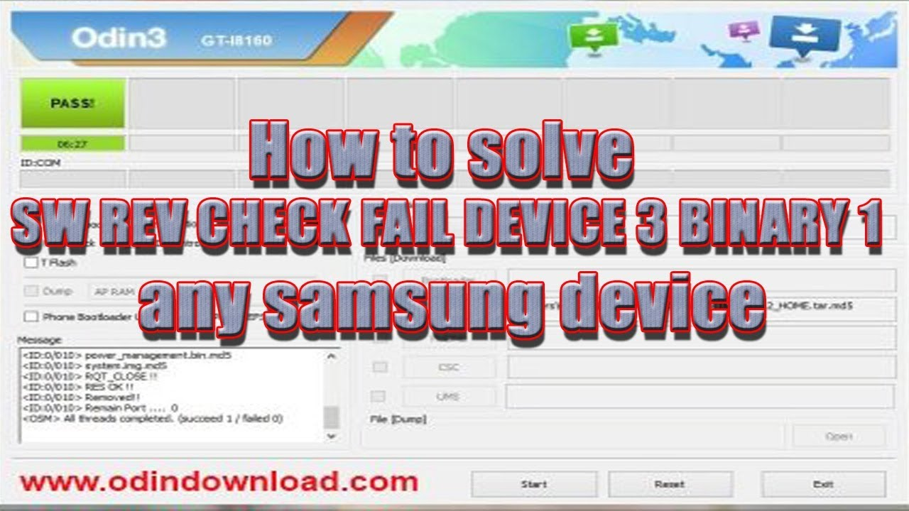 How to solve SW REV CHECK FAIL DEVICE 3 BINARY 1 any samsung device
