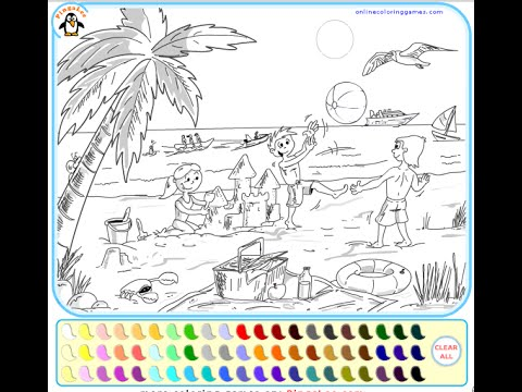 Beach Coloring Pages For Kids - Beach Coloring Pages - YouTube