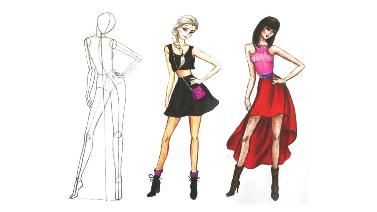 Fashion Эскизы «Рисунок Девушки Мода»