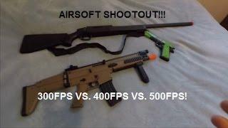 Airsoft Gun Power Shootout! 300, 400, 500 FPS Do Battle! Review