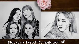 BLACKPINK Sketch Compilation 💗🖤 #shorts #BlackPink #drawing #myart