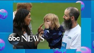 Kids grab Duchess Meghan's hair, Prince Harry's beard during Ireland visit