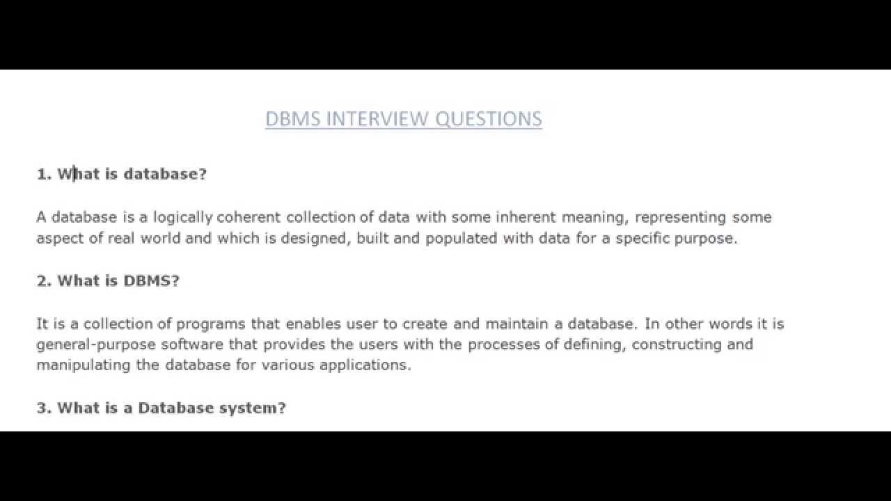 database interview questions database interview questions