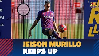 Jeison Murillo touches the ball for the first time as a Barça player
