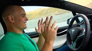 Tech YouTuber tries Tesla Autopilot for the first time!