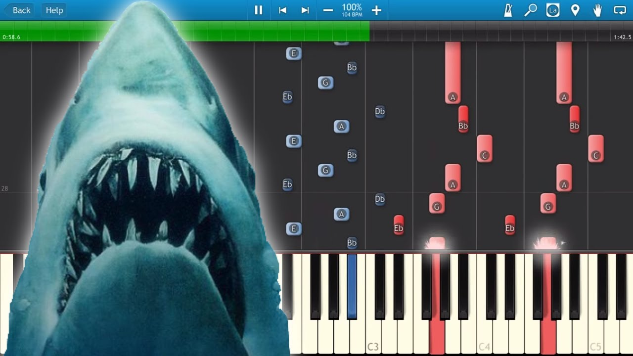 Jaws - Theme Music John Williams - Piano Tutorial - Synthesia Cover